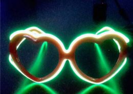 plastic heart frame el wire diffraction glasses