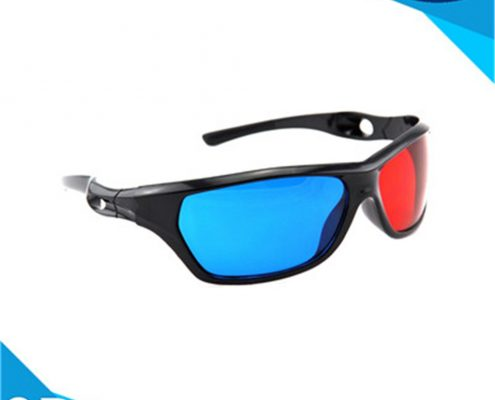 plastic 3d glasses red and blue with pet materials