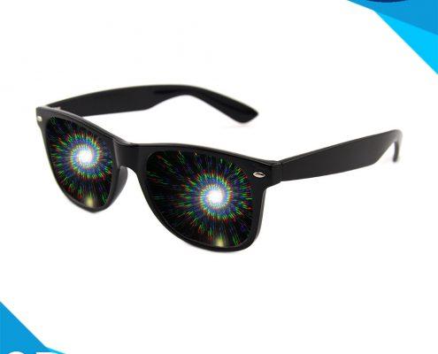 spiral diffraction glasses black
