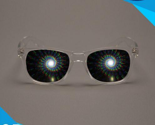 sprial diffraction glasses transparent