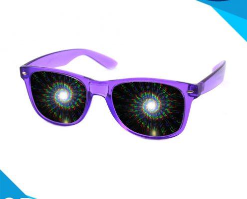 sprial diffraction glasses-transparent purple