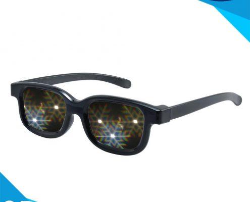 black frame snowflat glasses